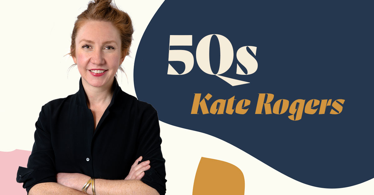 Photograph of Kate Rogers next to a colorful graphic image that says