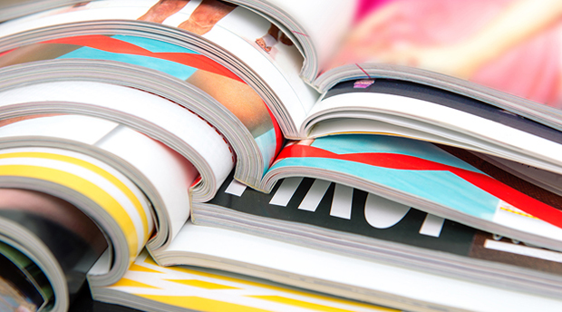Close-up photograph of colorful magazines