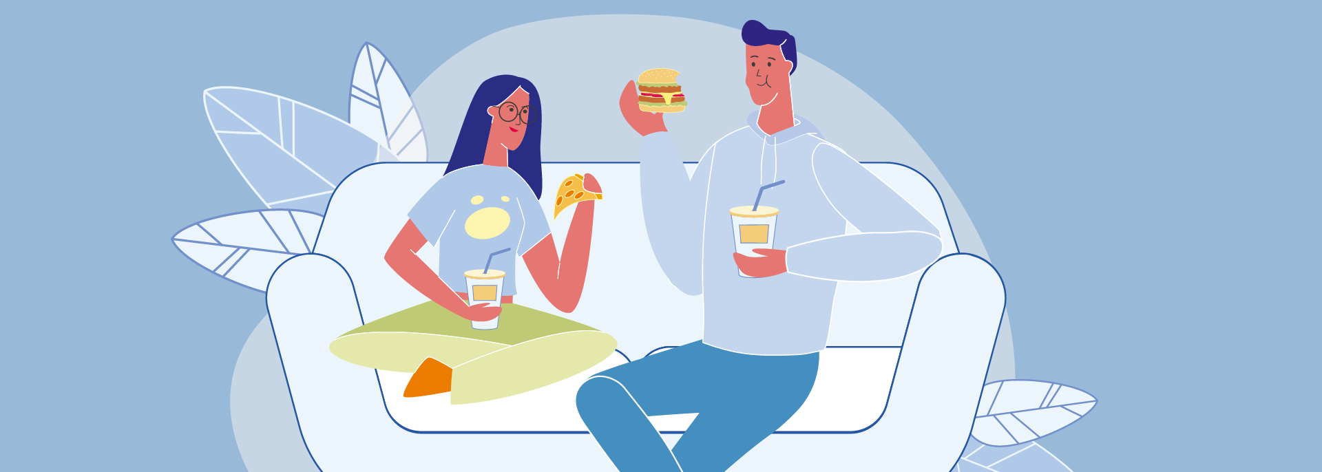 Colorful graphic image of happy couple eating takeout on the couch