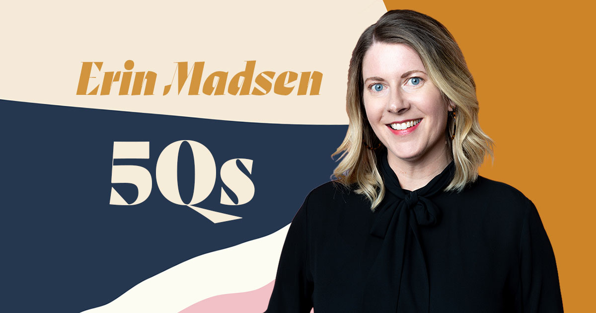 Photograph of Erin Madsen with colorful graphic background that says 5 Questions with Erin Madsen