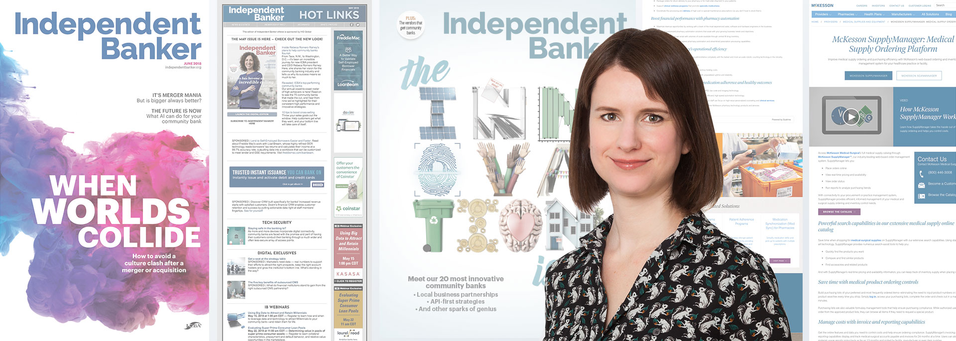 Photograph of Molly Bennett with some of her notable work for Independent Banker magazine and website