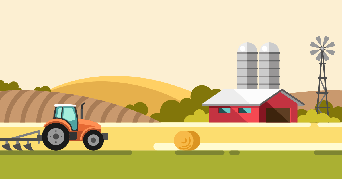 Graphic illustration of a small family farm