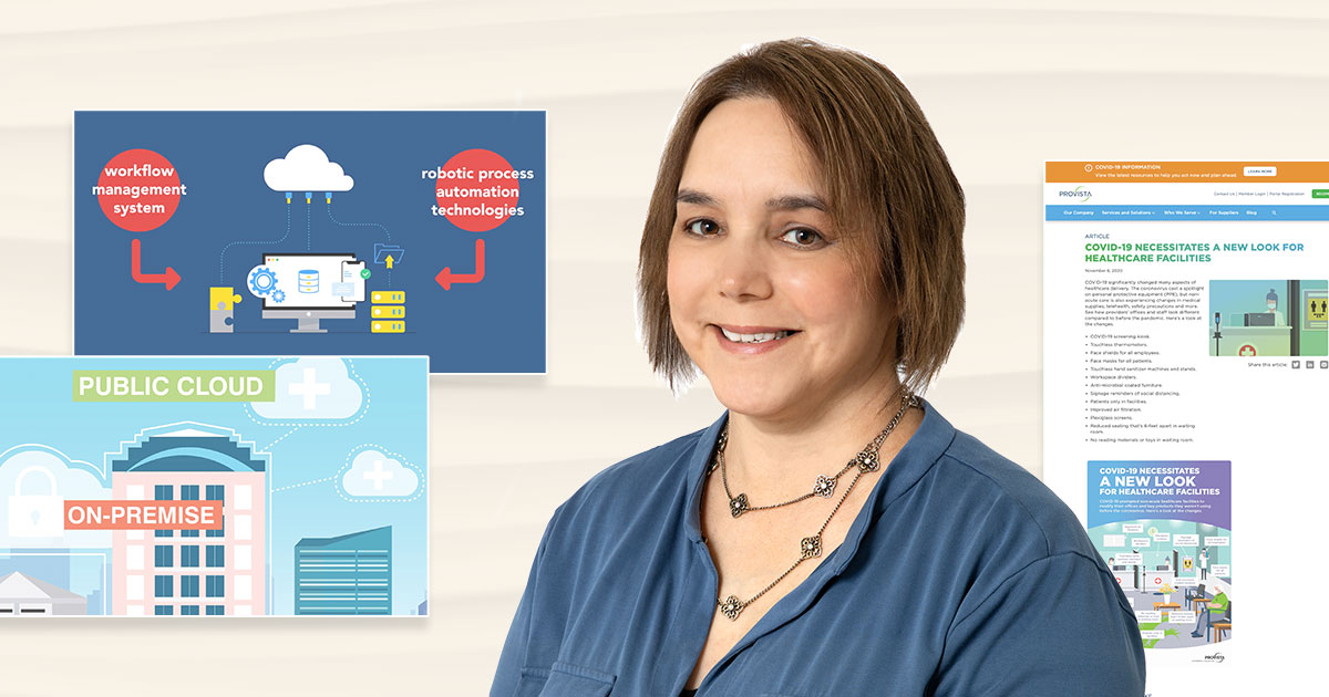 Photo of Evelyn Hoover with screenshots of notable content marketing work
